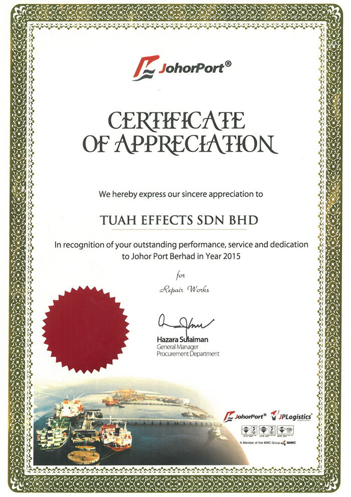 App. Johor Port Certificate Appreciation