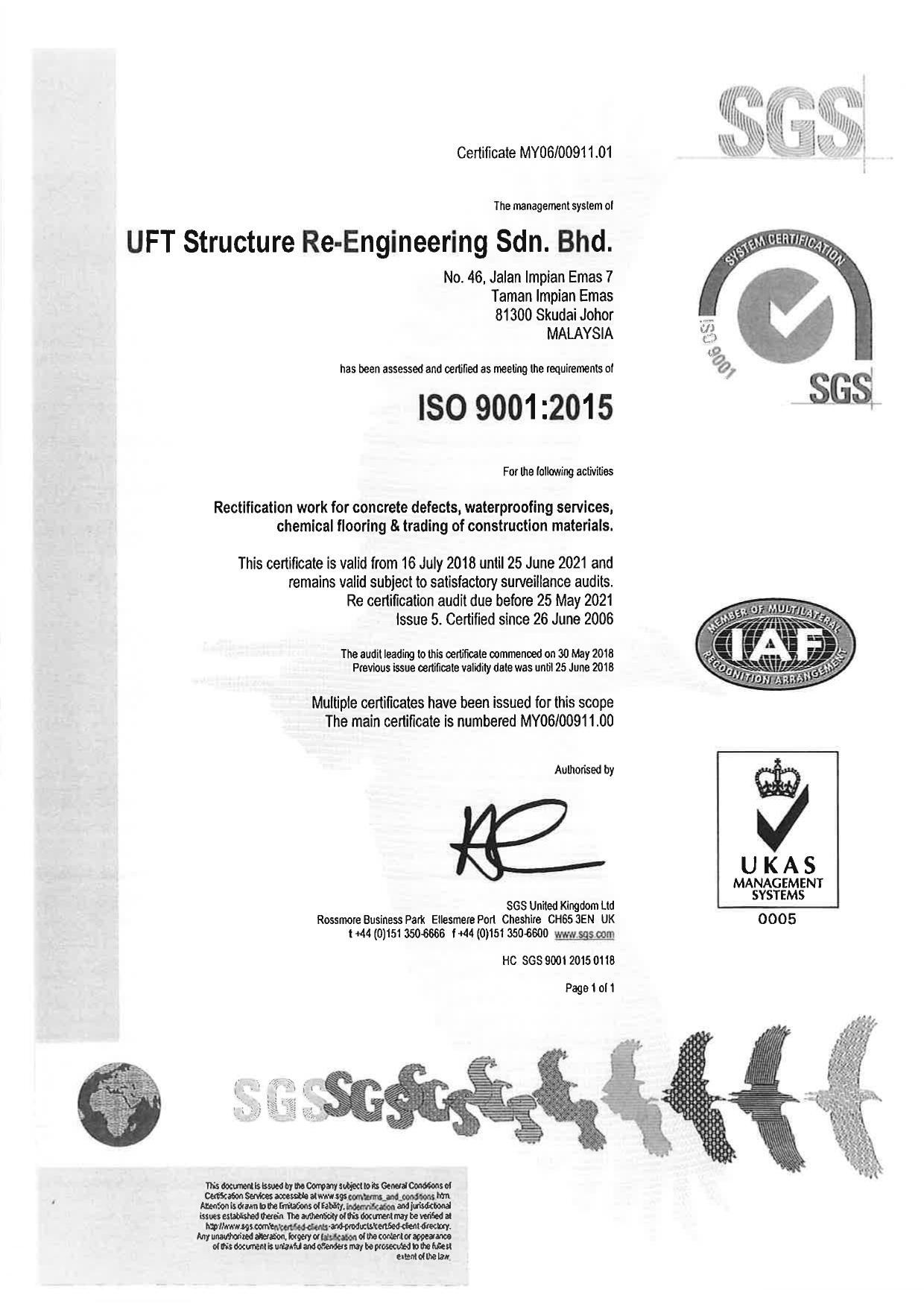 Certificate of ISO_UFT